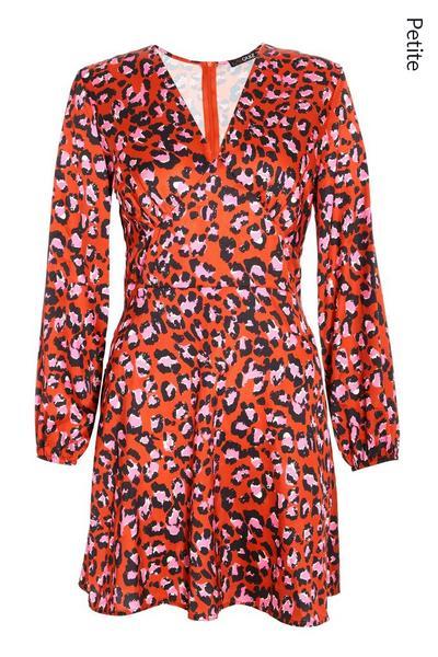 Petite Red Leopard Satin Skater Dress